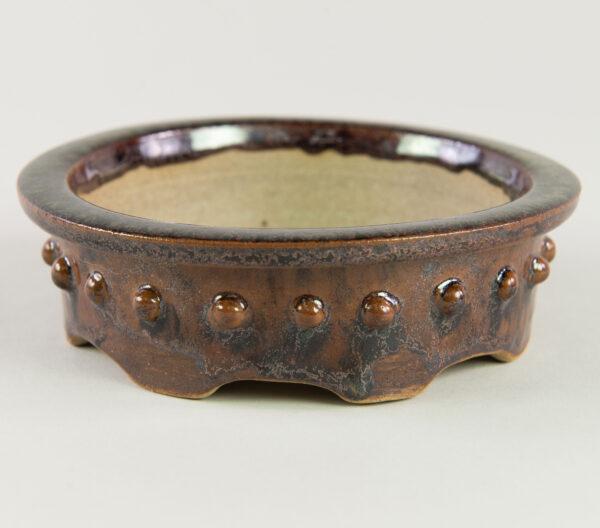 glazed brown gloss drum pot
