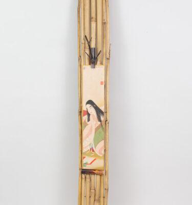 Bamboo tanzaku kakemono, geisha