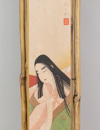 Kakemono de bambú con tanzaku de geisha escribana